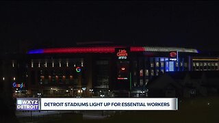 Detroit stadiums Ford Field, Comerica Park, Little Caesars Arena shine for essential workers