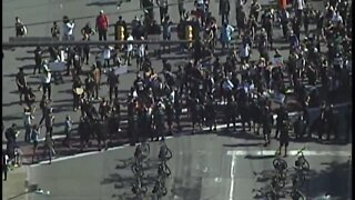 Watch: Protesters and police come together during Tuesday's march