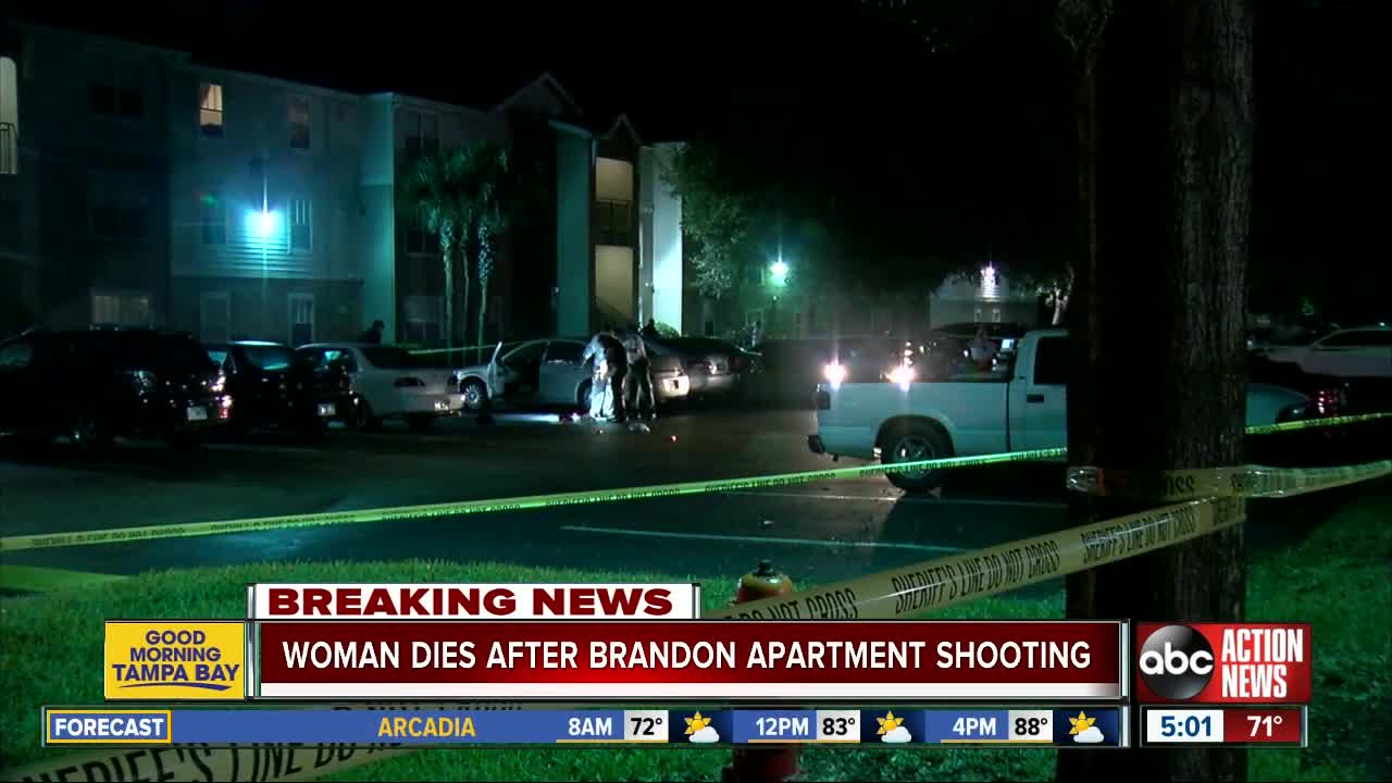 Woman dies after being shot at Brandon apartment complex
