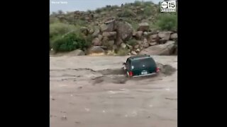 VIDEO: Group rescued from floodwaters, overturned SUV at Sycamore Creek