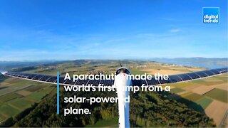 A parachutist made the world's first jump from a solar-powered plane.