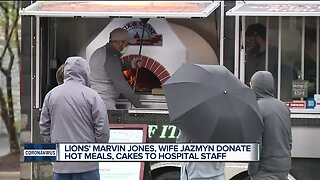 Lions WR Marvin Jones and wife Jazmyn donate hot meals to hospital staff
