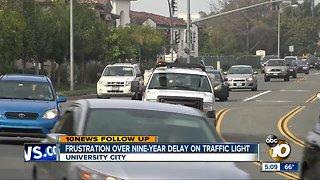 Frustration over nine-year delay on traffic light