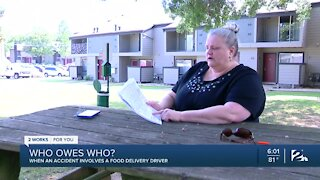 Woman faces thousands in damages after delivery driver hits her car
