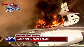 Yacht engulfed by flames in Riviera Beach