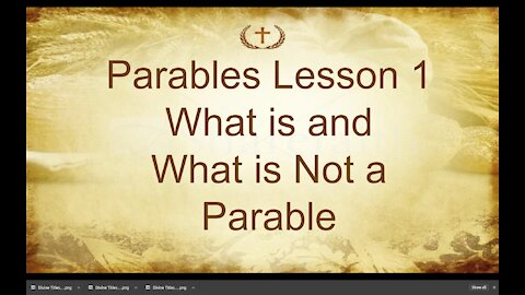 Lesson 1 on Parables of Jesus by Irv Risch