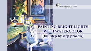 Painting bright light with watercolor: evening scene with a husky