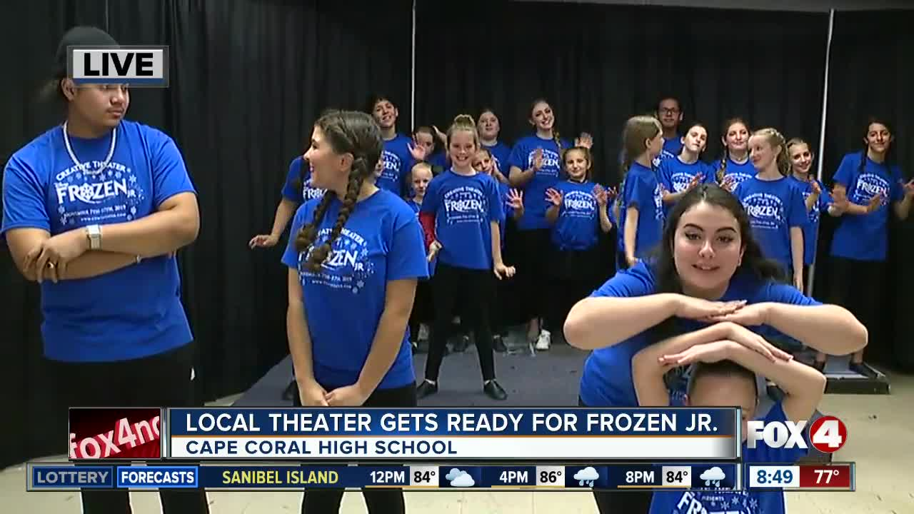 Local theater practices for Frozen Jr. opening night
