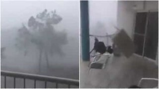 Intense storm destroys balcony in Australia