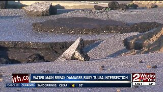 Water main break damages busy Tulsa Intersection
