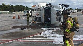 Fuel truck overturns at Palm Beach International Airport
