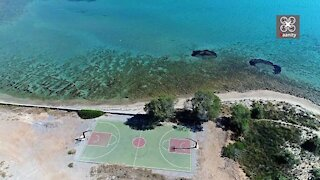 Drone captures exotic Greek basketball court with stunning views