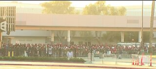Crowds gather at convention center