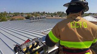 Fire Department rescues kid's teddy bear on school roof