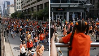 Thousands Of People In Orange Marched Through Downtown Toronto On Canada Day (PHOTOS)