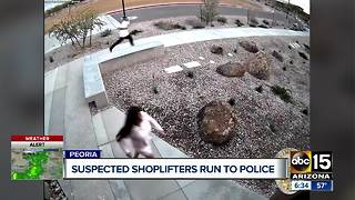 Suspected shoplifters arrested after trying to hide outside police station