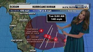 Hurricane Dorian update 10am - 9/1/19