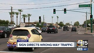 Phoenix traffic sign mistakenly instructed drivers to drive wrong-way