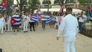 West Palm Beach protestors call for an end to communist regime in Cuba