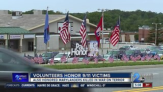Thousands of flags placed along road to honor 9/11 first responders