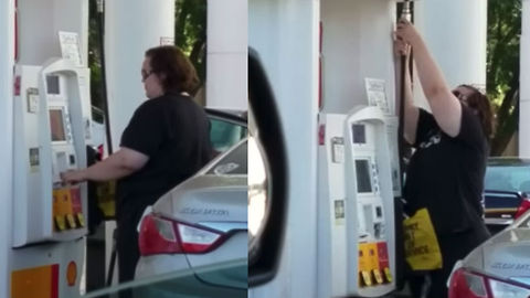 Stubborn Woman Tries And Fails To Fix Out Of Order Gas Pump Multiple Times
