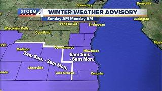 Winter Weather Advisory goes through Monday morning
