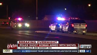 Las Vegas police shoot woman armed with shovel