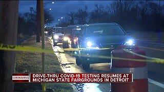 Drive-thru COVID-19 testing resumes in Detroit