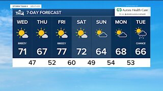 Sunny, breezy Wednesday, little cooler overnight