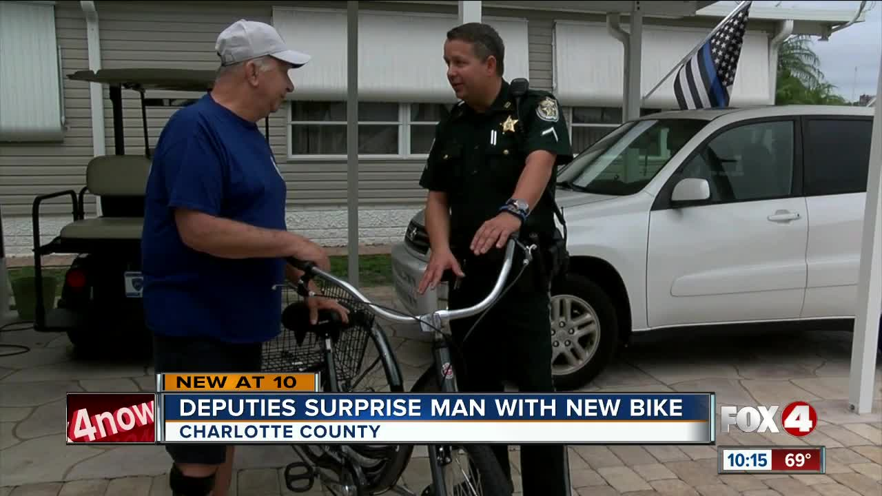 Punta Gorda man is surprised with new bicycle from Charlotte County Sheriffs office