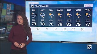 Forecast: Rain throughout the day, highs in the 70's