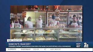 "Simon's Bakery in Cockeysville says ""We're Open Baltimore!"""