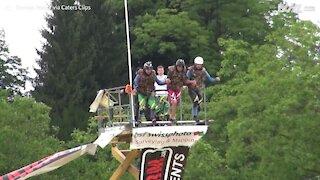 Man breaks blob jump world record