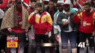 Tyrann Mathieu speaks at Chiefs Kingdom Champions Parade