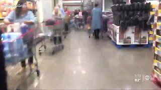 Long lines and empty shelves at grocery stores