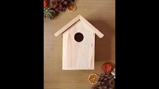 Woman Makes Incredible Christmas Themed Birdhouse!