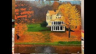 Painting Progress Stills: Autumn House on the Lake