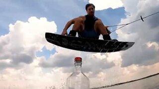 Wakeboarder owns Bottle Cap Challenge