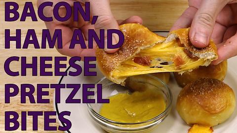 Ham and cheese bacon pretzel bites