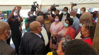 Bheki Cele meets slain EFF candidate's family.