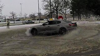 Supercar club can't resist drifting in snowy parking lot