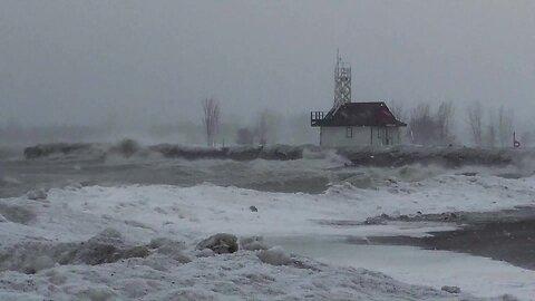 Blizzard pounds the coastline of Lake Ontario in Toronto