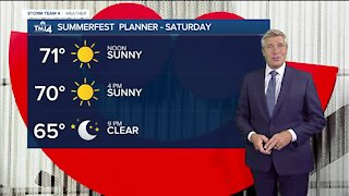 Saturday is sunny with highs in the 70s