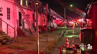 Six row homes involved in fire Thursday night in Baltimore