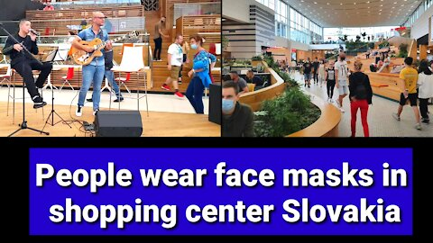 People wear face masks in shopping center AVION Slovakia