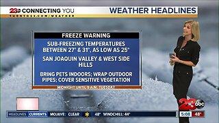 Valley Freeze Warning overnight