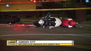 Motorcycle crashes into Smart Bus in Garden City