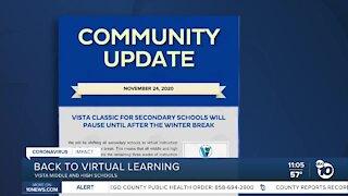 VUSD secondary schools return to virtual learning