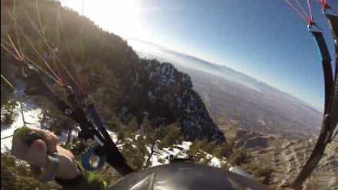 Henkeäsalpaava lento Utahin puiden ja vuorten poikki