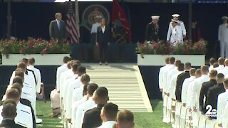 Vice President Kamala Harris becomes first woman to deliver commencement address at Naval Academy